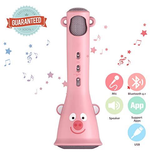 krofon,NASUM tragbare drahtlose Mikrofon für Kinder, für iOS/Android, PC/Smartphone, mit 3.5mm & USB Kabel, Geschenk für Jungen und Mädchen (Pink) (Pink) ()