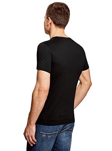 oodji Ultra Uomo T-Shirt in Cotone con Scritte Nero (2910P)