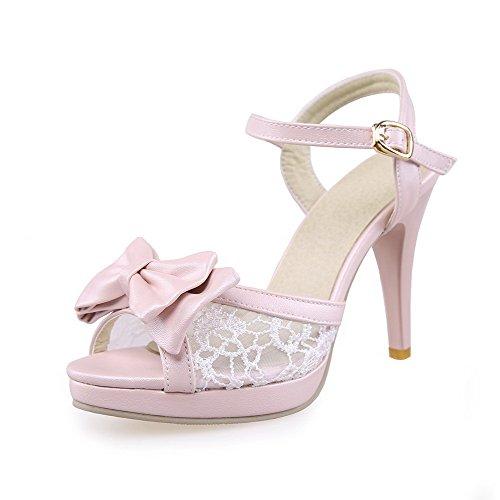 De Calcanhar Sapatos Fivela Allhqfashion De Material Sandálias Rosa Alta Peixe Alta Cabeça Puros Senhoras Macio De qwIvRdt