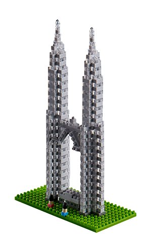 Brixies 410147 - Petronas Towers, 3D-Puzzle, World Famous Buildings Edition, 450 Teile, Schwierigkeitsstufe 4, sehr schwer, Mehrfarbig -