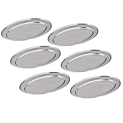 Stainless Steel Tray Set of 6 by Kosma – Oval Shaped Serving Platter in Size 20cm | Mirror Polish Finish Kitchen