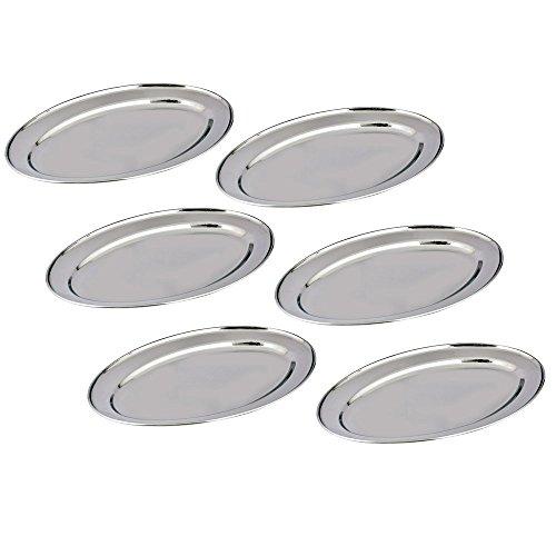 Bandeja de acero inoxidable Set de 6 por Kosma - plato de servir de forma ovalada en tamaño 20cm | Acabado pulido espejo bandejas de cocina