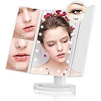 Espejo Maquillaje Plegable Iluminado 21 LED Espejo de Sobremesa con Pantalla Táctil Trifold 10X 3X 2X 1X Lupa Rotación de 180 Grado para Hogar Mujeres Niñas Belleza
