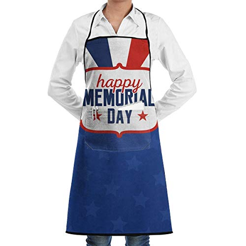 Apron with Pockets - USA Memorial Day Kitchen Cooking Restaurant Bistro Aprons Cooking Kitchen Aprons for Women Men Chef Where to Buy Aprons Womens Memorial