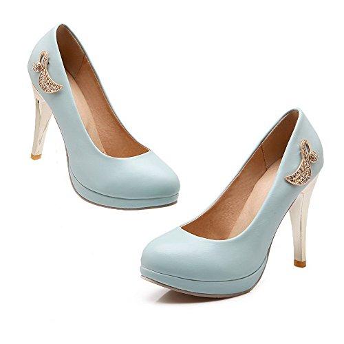 VogueZone009 Damen Stiletto Rein Ziehen Auf Rund Schließen Zehe Pumps Schuhe Blau