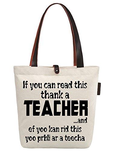 So'each Women's Thank A Teacher Letters Graphic Canvas Handbag Tote Shopper Bag