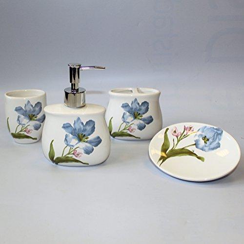 Juego de baño de cerámica - azul lirios. Contiene: jabón líquido/dispensador de mujer, vaso, vaso, plato de jabón. Un regalo perfecto - ideal para cumpleaños, Navidad