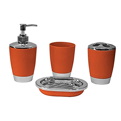4Pc Plastic Elegant Bathroom Accessory Set Soap Dish Dispenser Toothbrush  Holder (Orange)