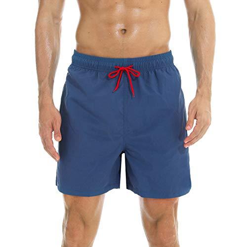�r Männer Badehose für Herren Jungen Schnelltrocknend Schwimmhose Strand Shorts (Navy Blau, M(EU)-MarkeGröße:XL-Taille 80-90cm) ()