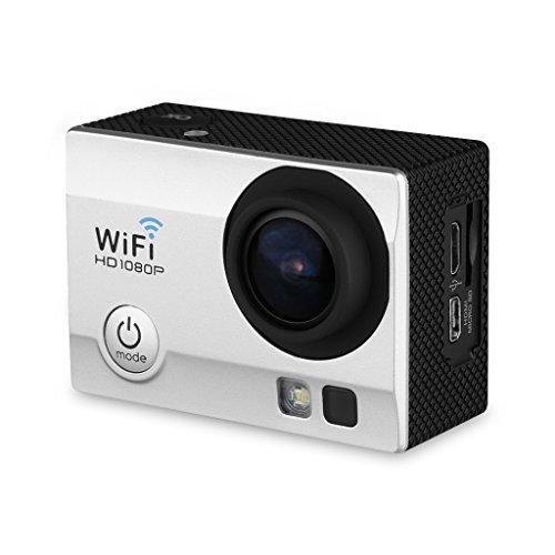 "Q5 - Cámara Deportiva DV (2.0"" LCD, Impermeable 30M, WiFi, 12MP, Full HD H.264, 1080P, Anti-Vibración) Videocámara de Deporte (Plateado)"