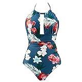 hmtitt Women's One Piece Swimwear Backless Two Ways Halter Neck Tummy Control Floral Print Monokini Swimsuits Bikini Swimwear UK 8 10 12 14 18 20 22 24