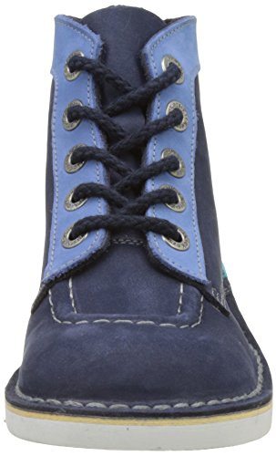 Kickers Col, Bottines Classiques Fille Bleu (Marine Turquoise)
