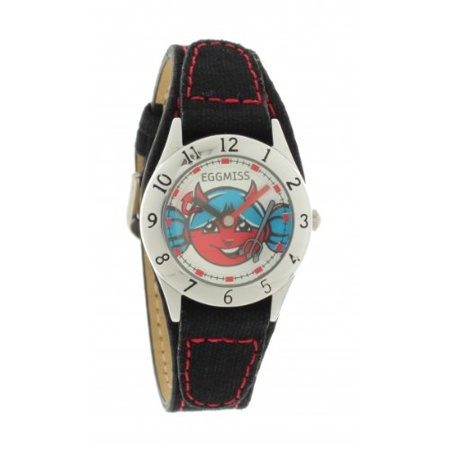 Ei-4008835DDP Kinder-Armbanduhr Analog Quarz Schwarz Zifferblatt Stoff Gurt