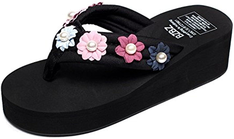 FEIFEI Las sandalias de las mujeres del verano, las flores de la perla manual deslizadores inferiores gruesos,...