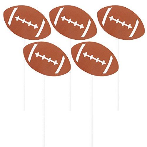 NUOBESTY 5 Stücke Kuchen Topper Fußball Shaped Cupcake Topper Dessert Topper Kuchen Cupcake Dekor für Geburtstag Sport Fußball Thema Super Bowl Party