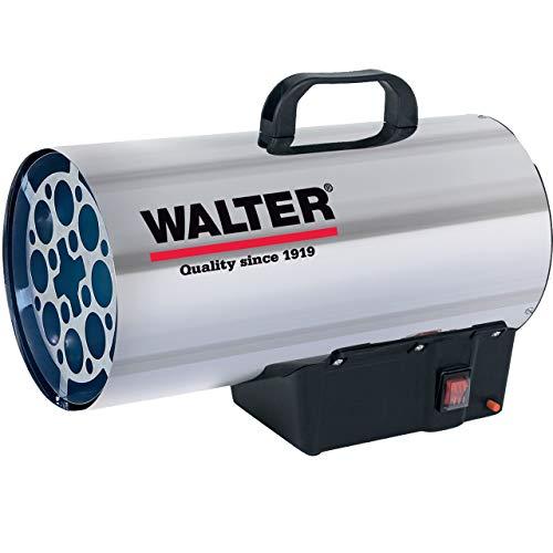 WALTER Gasheizkanone 19000 aus hochwertigem Edelstahl mit Piezozündung und Propankonstantregler. Verwendbar mit handelsüblichen LPG-Mehrwegflaschen, inkl. Zubehör