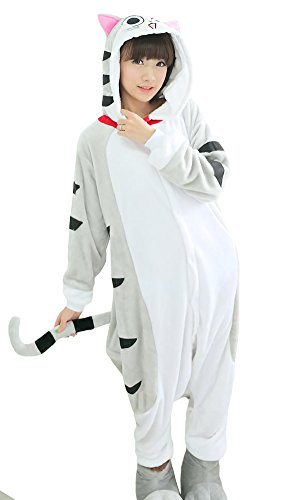 Tonwhar Kigurumi Pyjama Adulte Anime Cosplay Halloween Costume Onesie (M(Height:160cm-165cm), Chat)