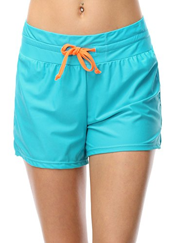 OUO Womens Adjustable Drawstring Swim Shorts Boy Style Brief Bottoms Test