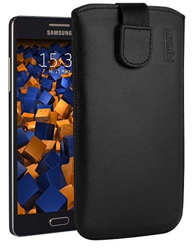 mumbi ECHT Ledertasche für Samsung Galaxy A5 (2015) Tasche Leder Etui (Lasche mit Rückzugfunktion Ausziehhilfe)
