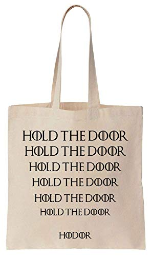 Finest Prints Hold The Door Hodor Iconic Repeating Quote Cotton Canvas Tote Bag