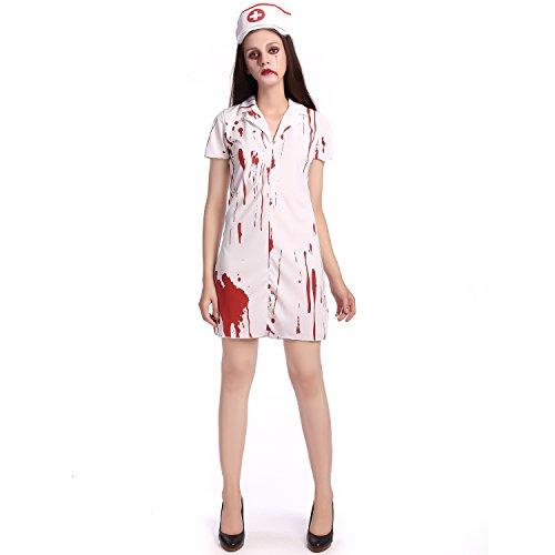 Costume Halloween maquillage sexy Partie jeu de rôle infirmière sang Blanc,vêtements,M
