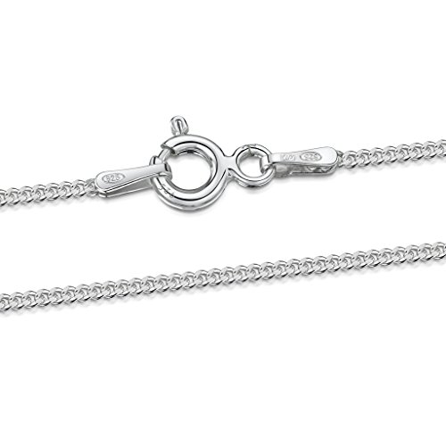 925 Sterling Silver 1.3 mm Curb Chain Size: 14 16 18 20 22 24 28 inch / 36 40 45 50 55 60 70 cm