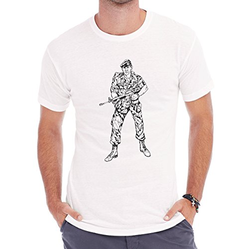Man In Army With Weapon Page Of Coloring Herren T-Shirt Weiß