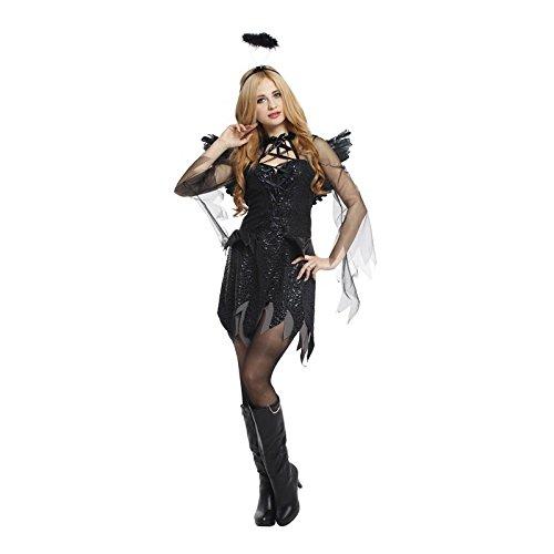 (Halloween Teufel Dark Angel Kostüm Noble Mysterious Devil Angel Set,Black,Onesize)