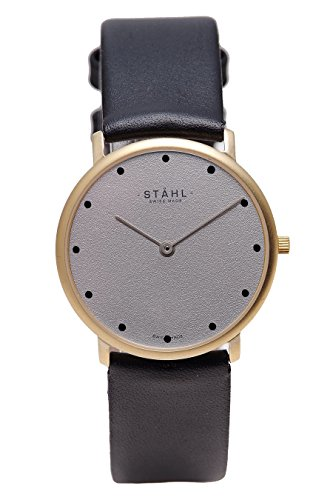 Stahl Swiss Made orologio da polso Model: ST61146 - placcato oro - large 33 mm case - 12 DOT quadrante grigio - Oro Grigio Dial