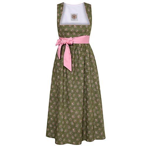 Umstandsdirndl Hannelore in Dunkelgrün mit Blumen und rosa Schleife