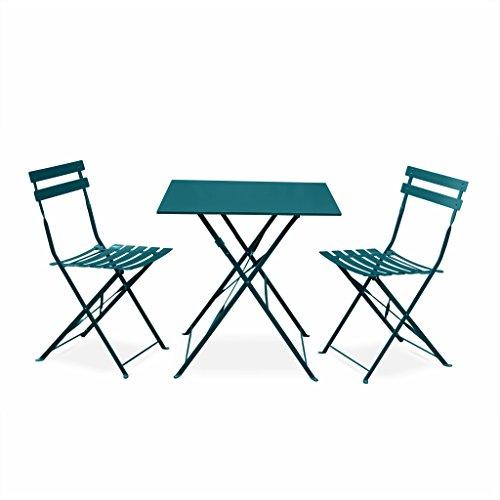 Alice's Garden - Salon de Jardin bistrot Pliable - Emilia carré Bleu Canard - Table carrée 70x70cm avec Deux chaises Pliantes, Acier thermolaqué