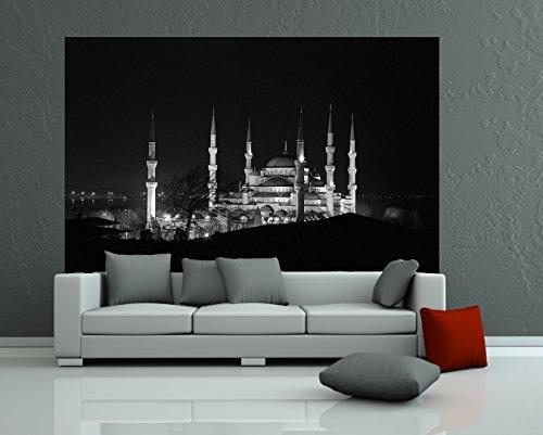 Selbstklebende Fototapete - Moschee bei Nacht - schwarz Weiss - 155x100 cm - Wandtapete – Poster – Dekoration – Wandbild – Wandposter - Bild – Wandbilder - Wanddeko