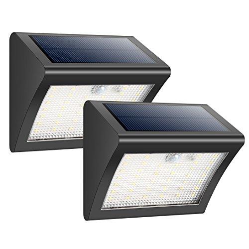 Solarleuchten Solarlampen Außen Solar Betriebene Außenleuchte, iPosible 38 LED Sicherheit Beleuchtung Bewegungsmelder Wandleuchte,Wasserdichte 3 Modi Sicherheit Bewegungs-Sensor-Licht für Garten, Patio, Deck, Hof - 2 Pack