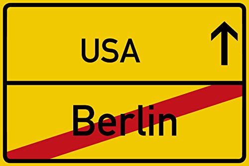 vanva Berlin Ortsschild USA Party Schild Urlaub Zubehör Dekoration Gadget Freund Freundin Geschenkidee Deko Reisebüro Männer und Frauen Geschenke Party Deko Fotobox Requisite