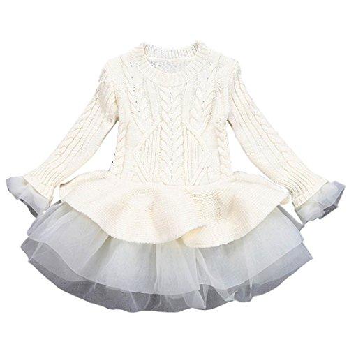 ZIYOU Winter Pullover Mädchen Strickpullover Häkeln Sweatshirt Dress Kleidung (3T, (Langarm Kostüme Turnanzug Beige Mädchen)