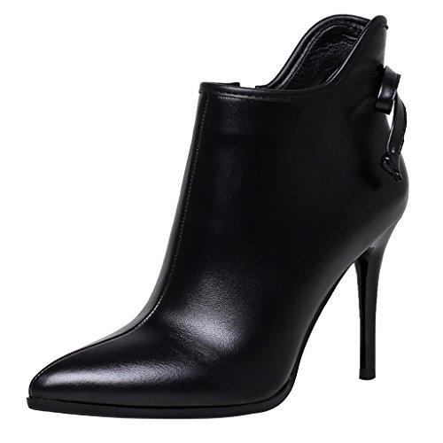 ELEHOT Donna EleI'm tacco a spillo 9.5CM Leather Stivali, nero,