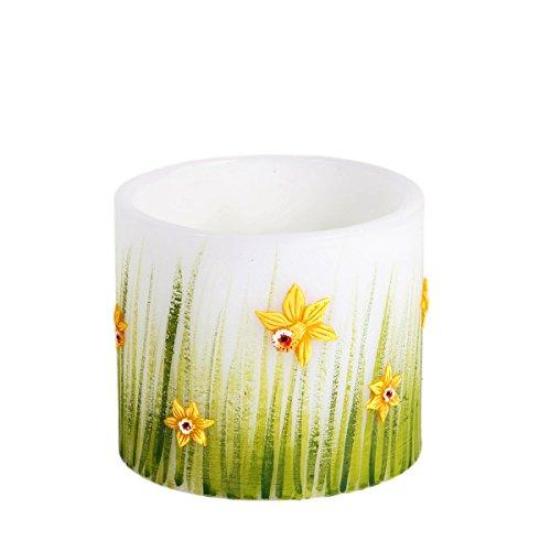 Ostern Lampion Zylinderform 135 x 145 mm weiß grün Kerze