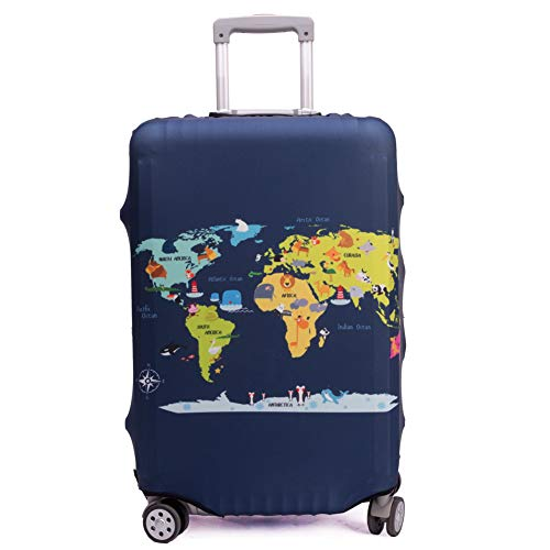 Maddy's Home Elastica Suitcase Cover Proteggi bagagli luggage Cover,Pop Gatto (Map, XL (Fit 29'-32' suitcase))