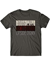 LaMAGLIERIA Camiseta Hombre Upside Down Grey Print - T-Shirt Stranger Things Mike Lucas Dustin