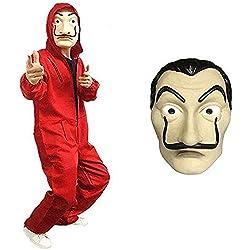 La casa Multifunzionale di Carta Maschera Maschera di Halloween Costume con Cappuccio Tuta con Maschera La Casa De Papel