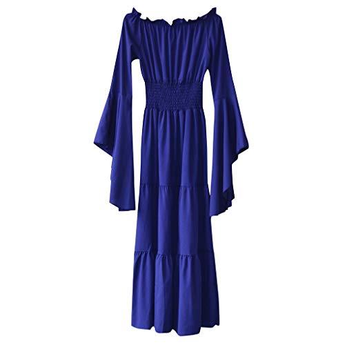Renaissance Kostüm Weiblich - MMOOVV Damen Cosplay Retro Mittelalter Renaissance Rollenspiel Retro Party Club Abendkleid Kleid (Blau 5XL)