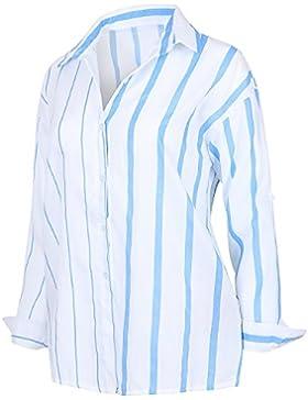 ililily Women Vertical Stripe Shirt Dress Rolled-Up Lightweight Cotton Blouse