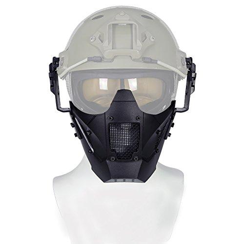 Schwarz Taktische Paintball Half Face Eisen Warrior Stahl Mesh-Maske - SCHNELLE Helm-Kombination Zubehör - Double Strap Camo Schutzmaske