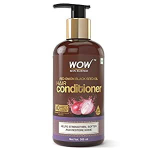 WOW Skin Science Red Onion Black Seed Oil Hair Conditioner with Red Onion Seed Oil Extract, Black Seed Oil & Hydrolyzed Wheat Protein - No Parabens, Mineral Oil, Silicones, Color & PEG - 300mL