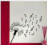 Löwenzahn Blumen Blume Wand Kreative Musik Noten Vinyl Wandaufkleber Home Decor 63Cm X 59Cm
