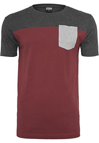 Preisvergleich Produktbild Urban Classics 3-Tone Pocket Tee T-Shirt Shirt, Farbe:burgundy/cha/gry;Größen:XL