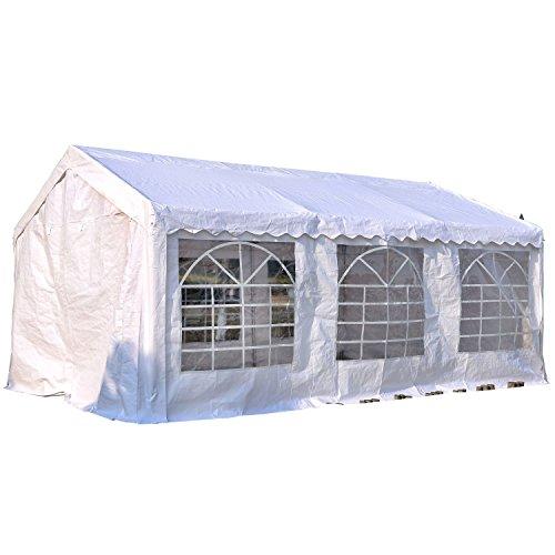 Outsunny gazebo da esterno tendone per feste matrimonio telaio in acciaio bianco (6m x 4m x2.8m)