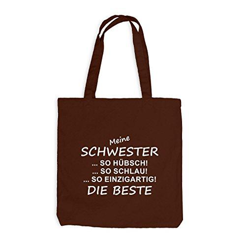 Jutebeutel - Meine Schwester - Die Beste - Sister Spaßmotiv Fun Chocolate