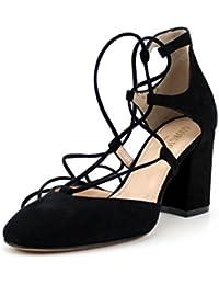 Giorgio Rea scarpe donna fatte a mano in Italia decoltè alla schiava nere lacci caviglie tacco comodo