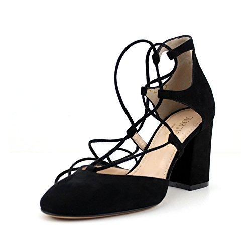 GIORGIO REA elegant Gladiator schwarz damen Schuhe handgefertigt in Italien pumps bequeme Fersen Knöchel Schnürsenkel (41, Schwarz)